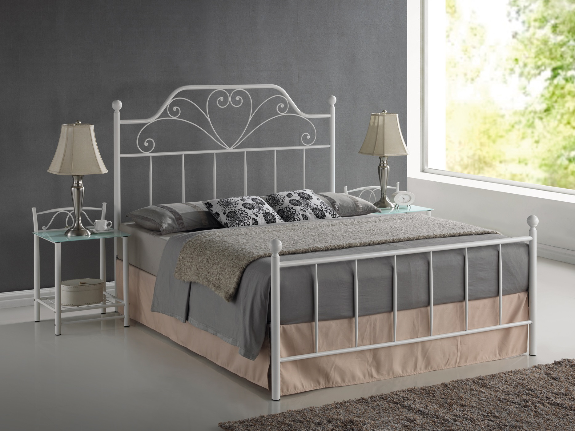 metallbett doppelbett 160x200 weiss top neu 2016 mit lattenrost 90x200 ehebett ebay. Black Bedroom Furniture Sets. Home Design Ideas