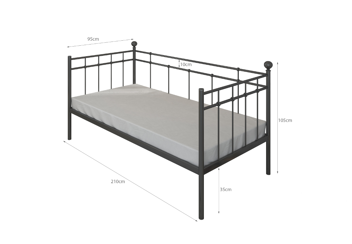 einzelbett metallbett 90x200 schwarz top neu 2016 mit lattenrost ebay. Black Bedroom Furniture Sets. Home Design Ideas