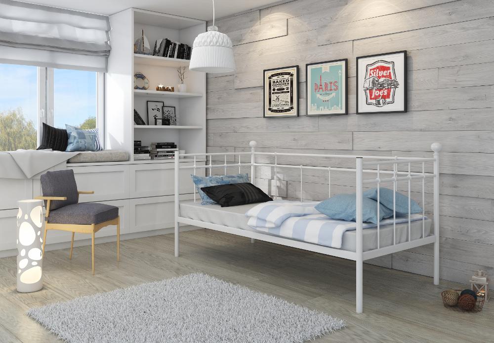 einzelbett metallbett 90x200 wei top neu 2017 mit. Black Bedroom Furniture Sets. Home Design Ideas