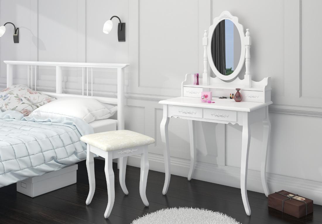frisiertisch kosmetiktisch mit spiegel hocker schminktisch. Black Bedroom Furniture Sets. Home Design Ideas