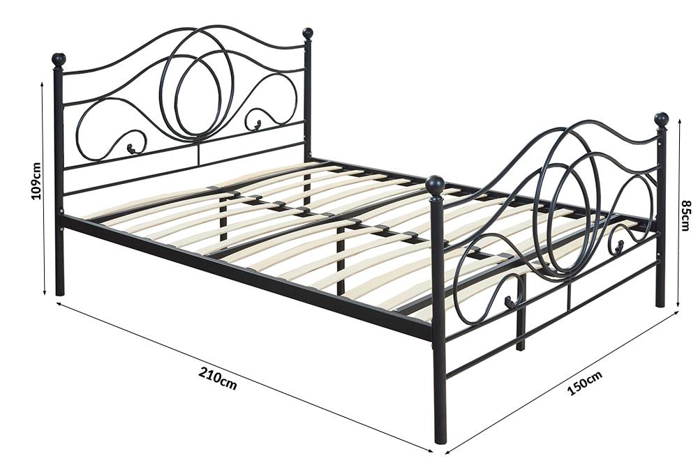 metallbett alice 140x200 schwarz ebay. Black Bedroom Furniture Sets. Home Design Ideas