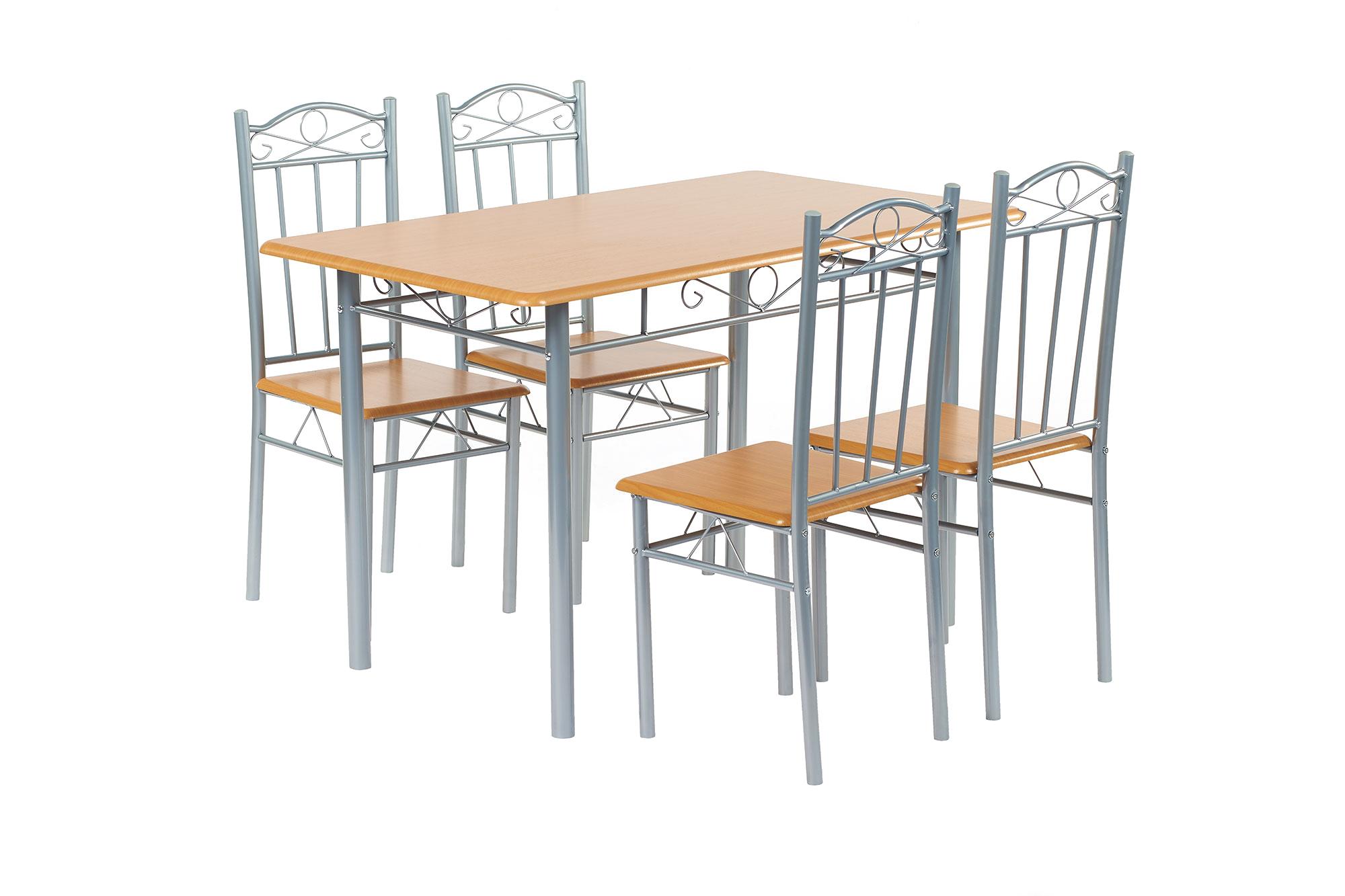 tischset esstischset esszimmer tisch 4 st hle hellem holz k che ebay. Black Bedroom Furniture Sets. Home Design Ideas